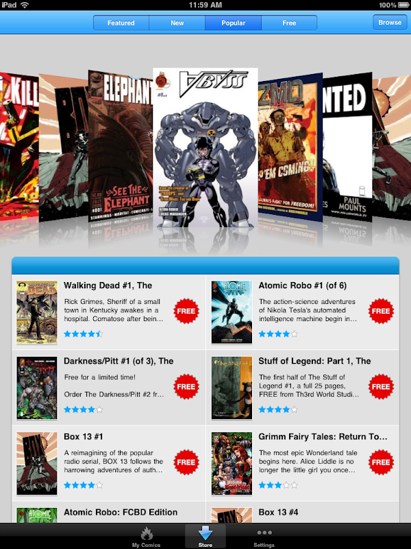 Comics by comiXology Popular Comics screen for iPad