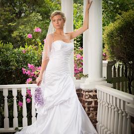 Bride on Porch by Jody Johnson - Wedding Bride ( azalea, wisteria, photorad, bride, plantation )