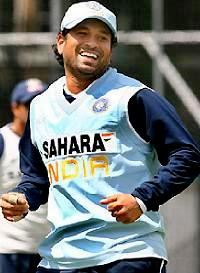 Sachin practicing happily