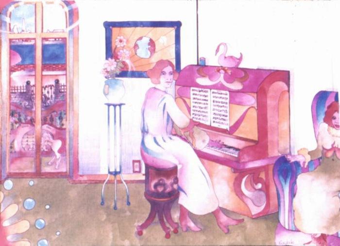 abuela ao piano   aquarela