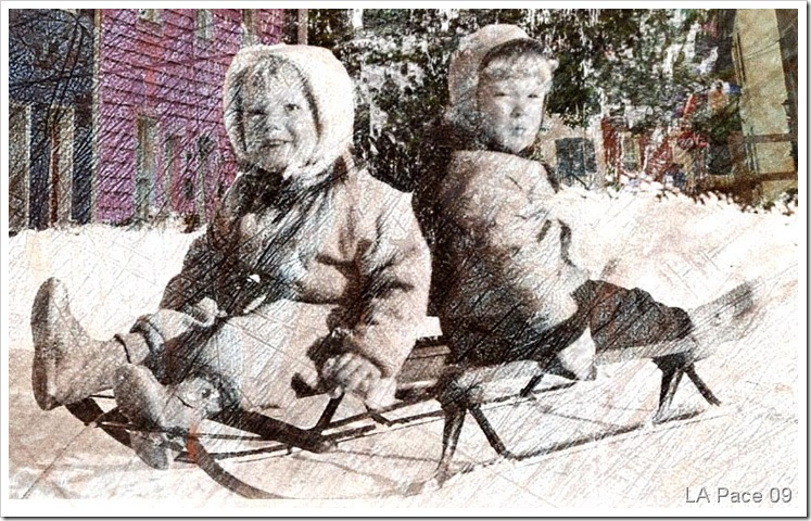 "Pete and Susie""s Sled Adventure photo montage"