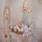 CAVALLO ETRUSCO acquarello su carta, colori acrilici, matita 26,5 cm x 39, 5 cm