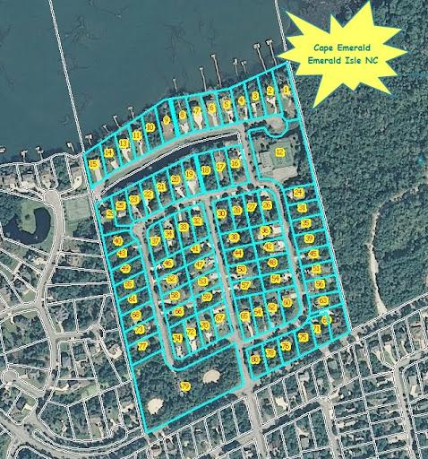 aerial map - Cape Emerald a gated subdivision in Emerald Isle North Carolina