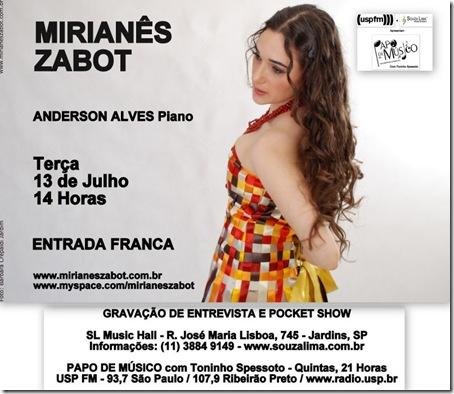 MIRIANÊS ZABOT - Papo de Músico (USP FM) - 13-7-2010