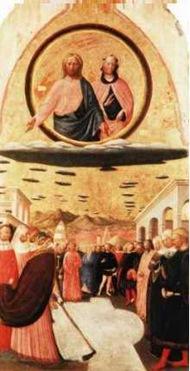 """A imagem acima mostra Jesus e Maria sobre o que parece ser nuvens lenticulares em forma de disco. É intitulado """"O Milagre da Neve"""", de Masolino (1383-1440). Pendura na igreja de Santa Maria Maggiore, Florença, Itália."""