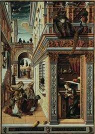 """""""A Anunciação"""", de Carlo Crivelli, e está exposto na Galeria Nacional de Londres. Um disco em forma de OVNI tipo de objeto lançando um feixe de luz para baixo na cabeça de Maria, é mostrado em detalhes."""