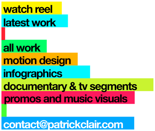 Patrick Clair site menu graphic