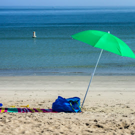 Green Umbrella by David Stone - Landscapes Beaches ( beach umbrella, ipswich, green umbrella, beach towel, beach, crane beach, ipswich bay )
