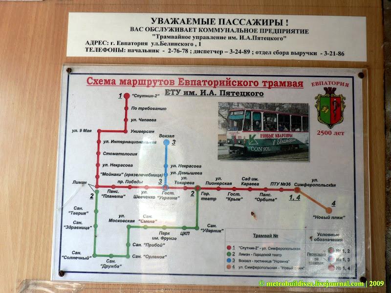 Схема маршрутов Евпаторийского