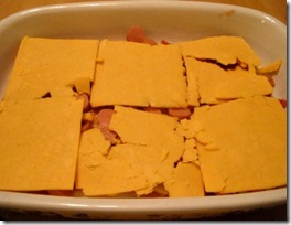 polenta hot dog - cheese layer