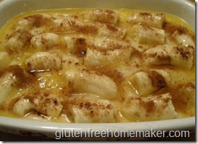 banana cobbler in baking dish