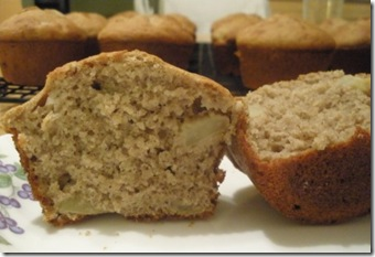 multigrain apple muffin, cut