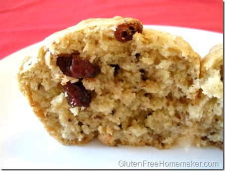cranberry walnut muffin - cut