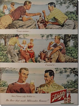 1940s Schlitz Beer 1950s Vintage Advertising Illustration Men  Queer Campy Midcentury Advertisement 2