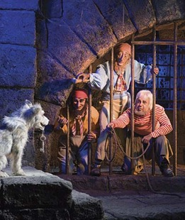 NO ESCAPE -- In one of the attractions most memorable scenes, a dog holds the keys and the futures of some undesirables in his mouth.  The classic moment was recreated in Pirates of the Caribbean:The Curse of the Black Pearl. FOR EDITORIAL USE ONLY All Rights Reserved ©2006 Disney Enterprises