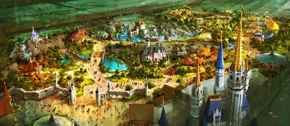 ABOVE FANTASYLAND -- A bird's-eye view of the vastly-expanded Fantasyland at the Magic Kingdom in Walt Disney World which will offer Guests a new land of enchantment in a magical fairy tale forest just beyond the castle walls. The expanded Fantasyland was announced at the D23 Expo on Saturday by Walt Disney Parks and Resorts Chairman Jay Rasulo.