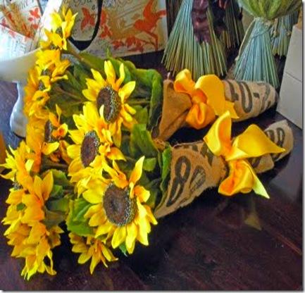 Sunflowers in Burlap from Beadboard Upcountry Blog Nov. 09