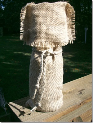 Burlap Wine Bag and mini lamp 035