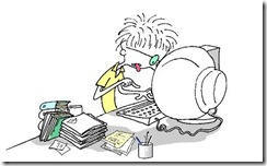 cartoon woman at computer typing 2
