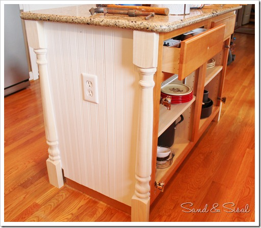 Kitchen island makeover sand and sisal Dressing a kitchen