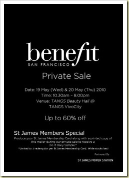 benefit sale AT TANGS