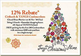 tangs 12% Christmas Sale