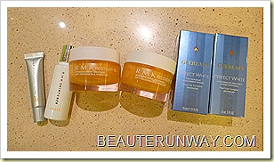 RMK Recovery Gel, Skin Tuner, Face Protector and Guerlain Perfect White Eye Essence