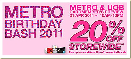 metro birthday bash storewide 20 april 2011
