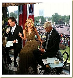 CAT DEELEY WORE THE JIMMY CHOO 247 LUCIA IN NUDE PATENT to PRESENT FOR CNN FOR THE ROYAL WEDDING