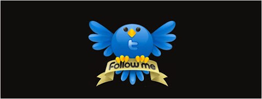 Twitter follow me icon with black background