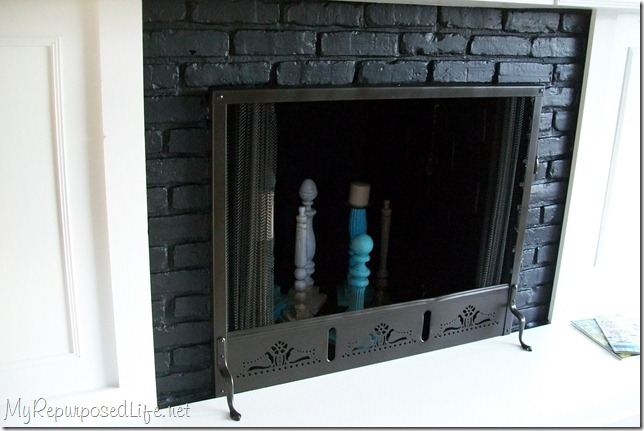 painted brass fireplace screen