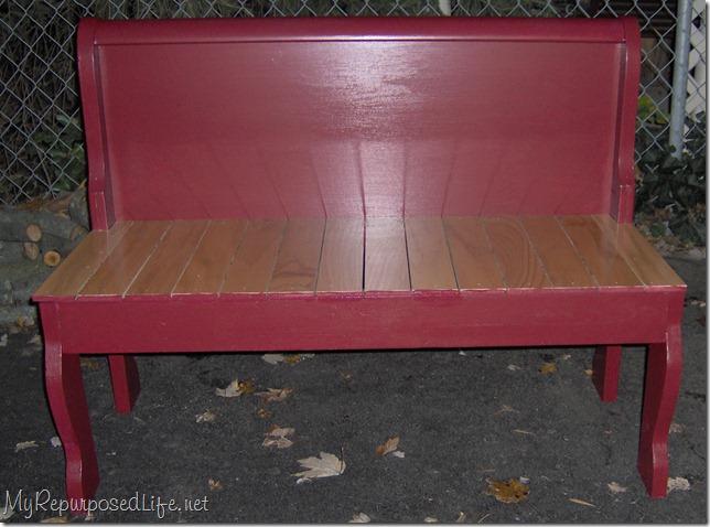 repurposed foot board into bench