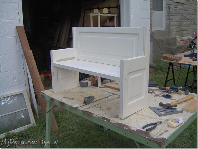 how to make a bench from a door