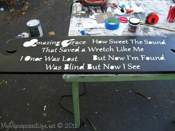 stenciled a headboard Amazing Grace