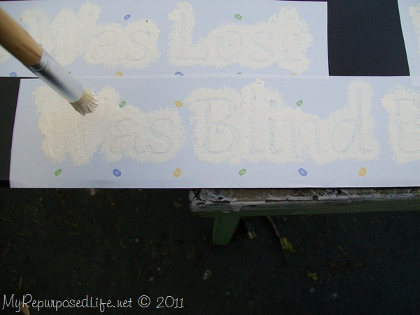 stenciling with contact paper and a stencil brush