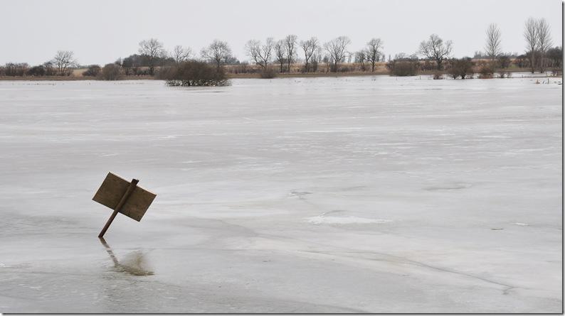 frozen floodwater of river derwent