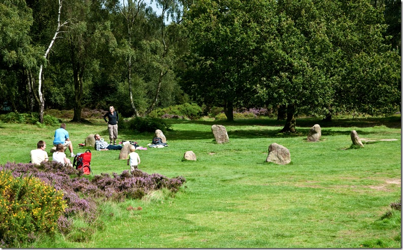 nine ladies stone circle stanton moor looking north