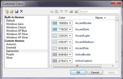 Okno dialogowe w Visual Studio Color Theme Editor