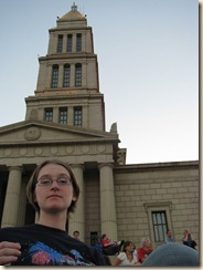 Me at the Masonic Temple, with patriotic accoutrements.