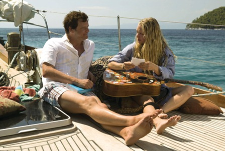 "Harry Bright (COLIN FIRTH) catches up with Sophie Sheridan (AMANDA SEYFRIED) in the musical romantic comedy ""Mamma Mia!"""