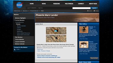 Screenchot da página da missão da Nasa 'Phoenix Mars Lander'