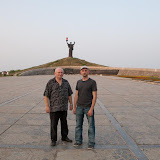 """My father and I at the statue of """"Rodina Mat"""" (Birthland Mother), and memorial to the fallen Soviets of World War II"""