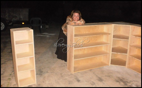 Lana and her custom cabinets - out in the driveway