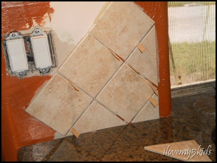 Tile with spacers