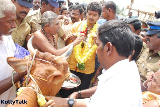 Vijay did the Cow Pooja