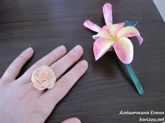 кольцо из цернита чайная роза и брошь из холодного фарфора