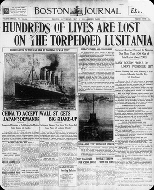 Lusitania sunk 8 May 1915