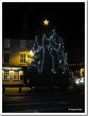 The town Xmas tree which has a permanent home which is covered by a manhole for the rest of the year.