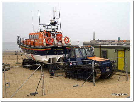 Margate lifeboat and it's unusual launching system down on the beach. It's normal home was blocked off by a construction site.