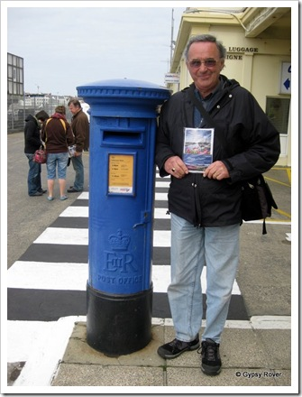 Guernsey tour guide in hand and a BLUE post box!